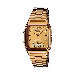 Casio - Unisex gold rectangular dial bracelet watch