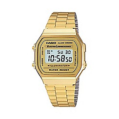 Casio - Unisex gold square dial digital watch