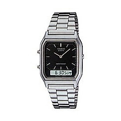 Casio - Unisex silver rectangular dial bracelet watch