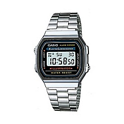Casio - Unisex silver rectangular dial digital watch