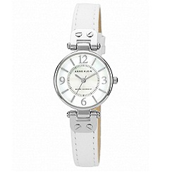Anne Klein - Ladies white round mother of pearl face leather strap watch