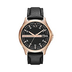 Armani Exchange - Men's rose gold case black leather strap watch