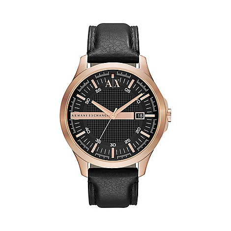 Armani Exchange - Men+s rose gold case black leather strap watch