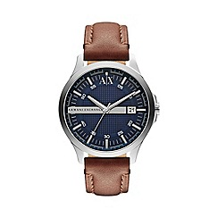 Armani Exchange - Men's blue dial brown leather strap watch