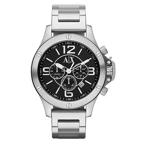 Armani Exchange - Men+s black large dial chronograph bracelet watch
