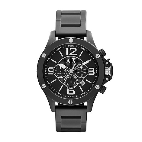Armani Exchange - Men+s black multi dial ion plated bracelet watch ax1503