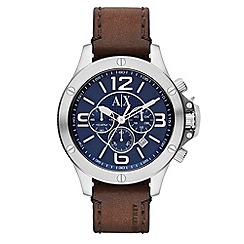 Armani Exchange - Men's brown chronograph leather strap watch