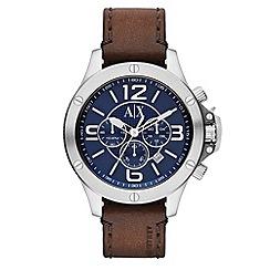Armani Exchange - Men's brown chronograph leather strap watch