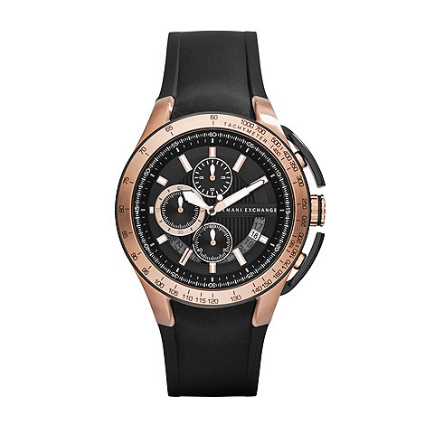 Armani Exchange - Men+s black and rose gold multi dial watch