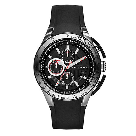 Armani Exchange - Men+s black chronograph silicone strap watch