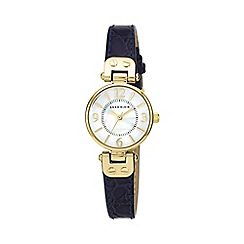 Anne Klein - Ladies navy leather strap with gold tone case watch