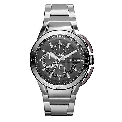 Armani Exchange - Men+s black dial chronograph bracelet watch