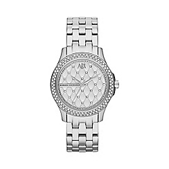 Armani Exchange - Ladies silver crystal stone bezel bracelet watch