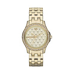 Armani Exchange - Ladies gold crystal stone bezel bracelet watch ax5216