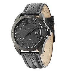 Police - Men's 'Bracket model' black dial leather strap watch