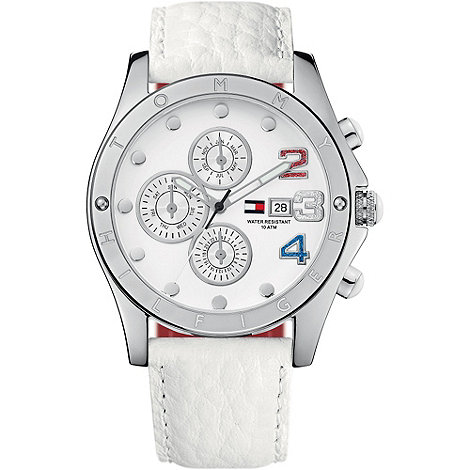 Tommy Hilfiger - Ladies white chronograph dial leather strap watch