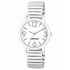 Nine West - Ladies white expandable bracelet with large white round face watch