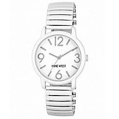 Nine West - Ladies white expandable bracelet with large white round face watch