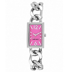 Nine West - Ladies hot pink rectangle face with open chain bracelet watch