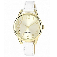 Nine West - Ladies white leather strap with yellow gold tone case watch