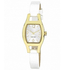 Nine West - Ladies white leather strap with cushion shaped gold tone case watch