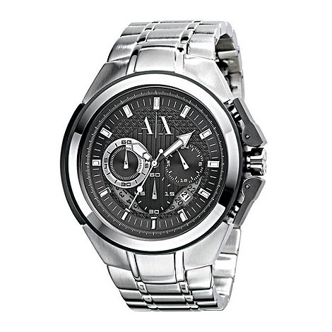 Armani Exchange - Men+s  silver round face chronographbracelet watch