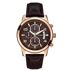 Guess - Mens rose gold, brown dial and crocodile leather strap watch