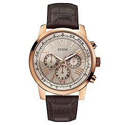Guess - Mens  brown crocodile effect leather strap watch