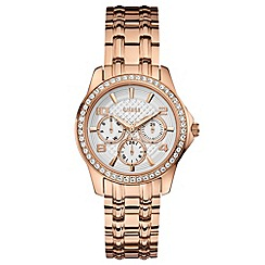Guess - Ladies rose gold with crystals bracelet watch