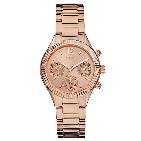 Guess - Ladies rose gold chronograph look bracelet watch