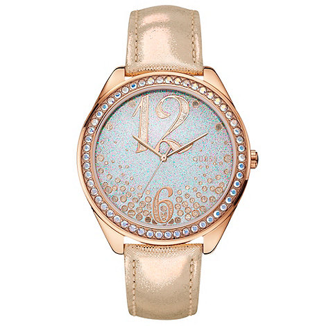 Guess - Ladies rose gold metallic leather strap watch