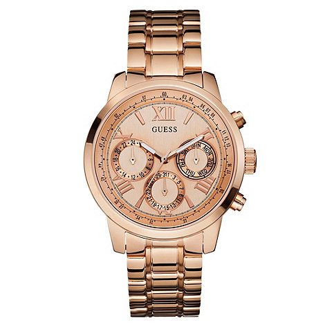 Guess - Ladies rose gold chronograph look watch