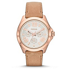 Fossil - Ladies light pink 'Cecile' multifunction leather watch