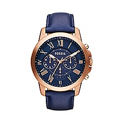 Fossil - Men's navy 'Grant' chronograph leather watch fs4835