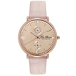 Ted Baker - Ladies rose gold multifunction strap watch
