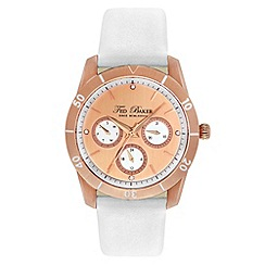 Ted Baker - Ladies gold and white multifunction strap watch