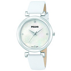 Pulsar - Ladies white MOP dial analogue strap watch