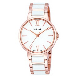 Pulsar - Ladies white dial analogue ceramic bracelet watch