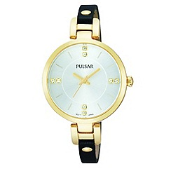 Pulsar - Ladies gold plate silver dial analogue strap watch