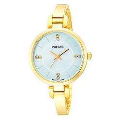 Pulsar - Ladies gold plate silver dial analogue bracelet watch