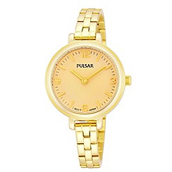 Pulsar - Ladies gold plate champagne dial analogue bracelet watch