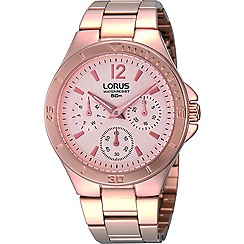 Lorus - Ladies multidial rose gold bracelet watch