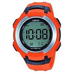 Lorus - Men's digital orange polyurethane strap watch