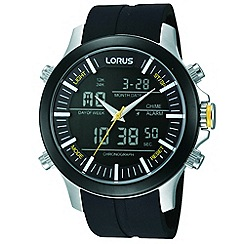 Lorus - Men's ana/digi black silicone strap watch