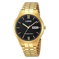 Lorus - Men's classic gold bracelet watch with black dial