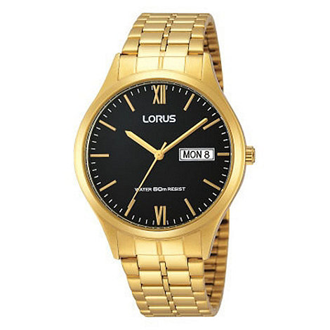 Lorus - Men+s classic gold bracelet watch with black dial