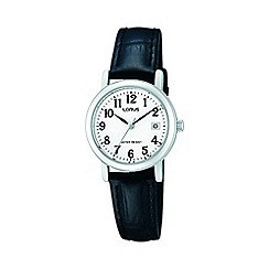 Lorus - Ladies classic black leather strap watch