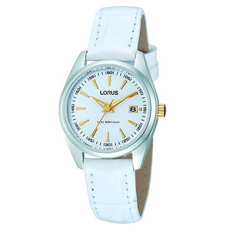 Lorus - Ladies white dress watch with white leather strap