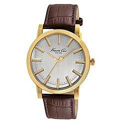 Kenneth Cole - Men's silver dial brown leather strap