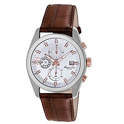Kenneth Cole - Men's white dial brown leather strap